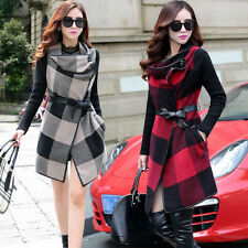 Fashion Womens Wool Stitching Plaid Checkered Trench Woolen Coat Jacket Outwears