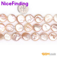"Coin Freshwater Pearl Loose Beads For Jewelry Making Gemstone Strand 15"" In Bulk"