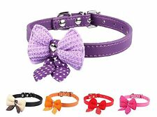 Bowknot Adjustable PU Leather Dog Puppy Pet Cat Collars Necklace Neck Lace