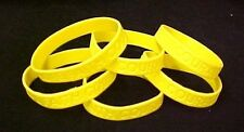 """Yellow IMPERFECT Bracelets 6 Piece Lot Silicone Wristband Cancer Cause 8"""" New"""