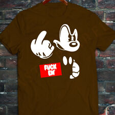 New Mens DOPE disney mickey mouse middle finger angry obey red Brown T-Shirt