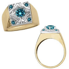 1 Carat Blue Diamond Cluster Fancy Mens Ring 14K White Yellow Two Tone Gold