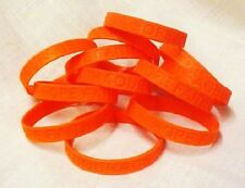 Orange Awareness Bracelets 100 Piece Lot Silicone Wristband Cancer Cause New