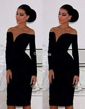 NEW Women sexy clubbing bodycon low bust off the shoulder black dress nasty SML