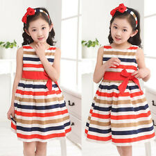 2015 Baby Kids Girls Party Rainbow Striped Bowknot Dresses Gown Fancy Dress 2-7Y