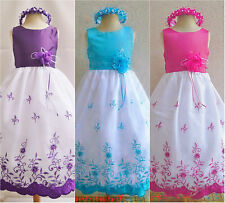Beautiful White Purple Turquoise Red Pink  wedding party flower girl dresses