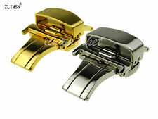 16mm 18mm 20mm SS Polished Watch Buckle Double-press Deployment Clasp For LON~
