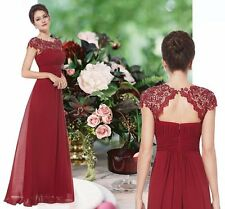 NEW KATIE BURGUNDY RED LACE MAXI LONG PROM BRIDESMAID EVENING DRESS UK 6-18