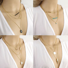 Fashion Women Multilayer Pendant Gold Chain Statement Long Necklace Lovely