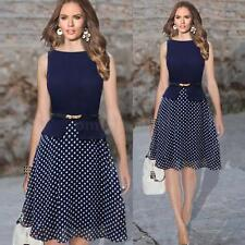 Vintage Celeb Women Polka Dot Crew Neck Sleeveless Party Chiffon Gown Dress