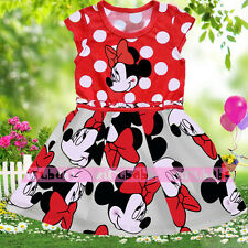 Minnie Mouse Print Girls Kids T Shirt + Skirt Children Dress Summer Clothes
