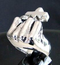 HUGE ARTWORK STERLING SILVER ATHEIST RING FIST CROSS MIDDLE FINGER MC ANY SIZE
