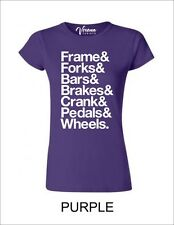 FRAME&FORKS&BARS&BRAKES&CRANK&PEDALS&WHEELS Womens T-Shirt MTB CYCLING BNWT