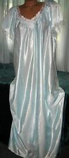 Baby Blue White Embroidery Nylon Long Nightgown M Semi Sheer Gowns