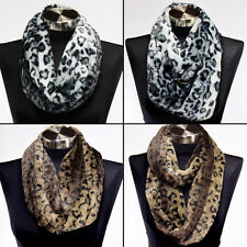 Faux Fur Leopard Print Infinity Scarf Soft Warm Scarves Shawl Cheetah Animal