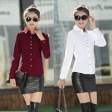 New Fashion Women OL Shirt Long Sleeve Turn-down Collar Button Blouse Tops