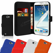 Leather Wallet Case Cover For Samsung Galaxy Note 2 II N7100 Free Screen Guard