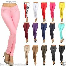 NEW Skinny Colorful Jeggings Soft Stretchy Sexy Pants Leggings Pencil Pocket