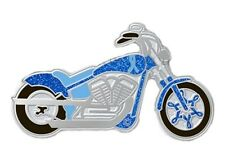 Blue Ribbon Motorcycle Pin Awareness Cancer Causes Ride for Cure Sparkles New