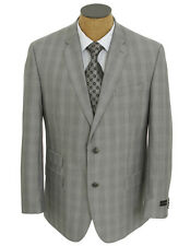 NEW Mens Sean John Light Gray Plaid Suit