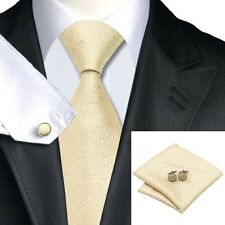 SN-1116 silk tie men tie hanky cufflink set party gold necktie causal business