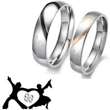 Valentine's Day Heart Stainless Steel Couples Engagement Wedding Band Rings 2015