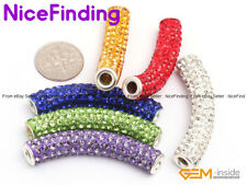 Curved Czech Crystal Rhinestones Pave Tube Bracelet Connector Charm Beads 9x48mm