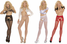 Sheer Crotchless Pantyhose Stockings Sexy Lingerie One Size Regular & Plus Size