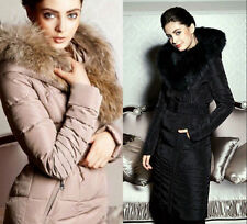 Long Women's Full Length Duck Down Coat Luxury Fur Collar Winter Puffer Jacket