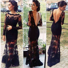 Women Sexy Lace Backless Prom Dress Wedding Formal Evening Long Party Maxi Gown