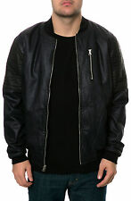 Karmaloop Allston Outfitter The Wax Coated Denim Bomber Jacket Blue