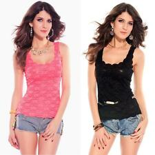 Women Sexy Floral Lace Sleeveless Stretch Vest Tank Top Slim T-Shirt Blouse Cami