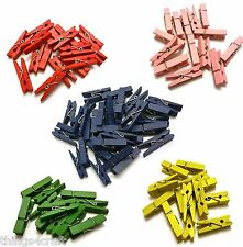 Mini Wooden Pegs 3.5cm - Available in Red, Green, Pink, Yellow, Blue - UK Seller
