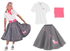 Hip Hop 50s Shop Womens 3pc Poodle Skirt Halloween or Dance Costume Set