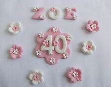 Edible Sugar Icing Name Age Blossom Flower Or Star Plaque Cake Decoration Set