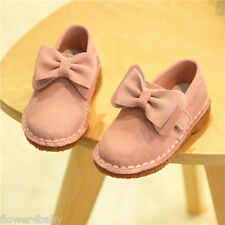 Girls Spring Pink Red Black Nubuck Leather Suede Loafer Bow Soft Shoes