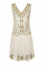 CREAM GOLD CHARLESTON FLAPPER uk 12 GATSBY dress 1920's ART DECO