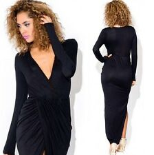 Skin-tight V-neck Ruched High Slit Women's Full Length Evening Party Wrap Dress