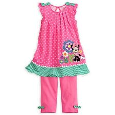 NEW DISNEY STORE MINNIE MOUSE COTTON PINK DRESS AND LEGGINGS SET SIZE 4