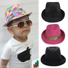 Elegant Boys Girls Fedora Jazz Hat Topper Roll Brim Baby Kids Unisex Casaul Cap