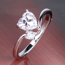 Eternity Real white gold filled Promise LOVELY LADY white sapphire RING Sz5-Sz9