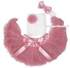White Crochet Tube Top Dusty Pink Pettiskirt Baby Girl Tutu Outfit Set NB-3Year