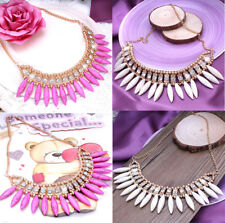 Ladies Hot Fashion Pink & Cream Drop Statement Chunky Crystal Necklace For Women