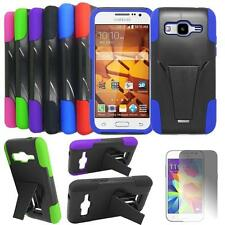 Phone Case For Samsung Galaxy Core Prime Rugged Hard Cover Stand + Screen Guard