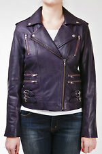 Ladies Real 100% Leather Short Fitted Bikers Style Retro Purple Rock Jacket