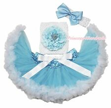 White Crochet Tube Top Peony Blue White Pettiskirt Baby Girl Tutu Outfit NB-3Y