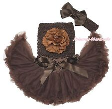 Newborn Brown Crochet Tube Top Pettiskirt Skirt Baby Girl Tutu Outfit Set NB-3Y