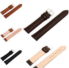 Unisex Quality Genuine Leather Many Sizes Buckle Watch Strap Band Womens Mens