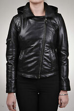 Ladies Women's BRANDO Black Fashion Quilted Biker Style Leather Jacket With Hood