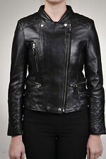 Ladies 100% Leather Fitted Black Quilted Biker Double Breasted Retro Jacket